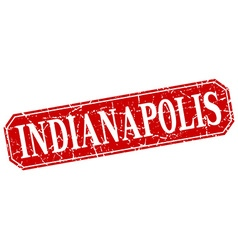 Indianapolis red square grunge retro style sign vector