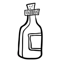 Black and white bottle cartoon vector