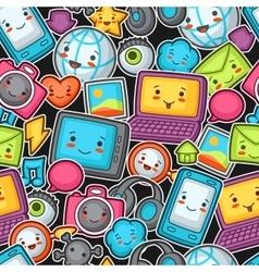 Kawaii gadgets social network seamless pattern vector image