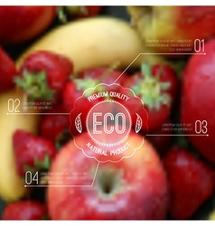 Blurred background with fruits and eco label vector
