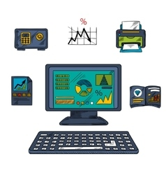 Business technology and office objects vector image vector image