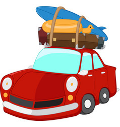 Cartoon travelling car vector