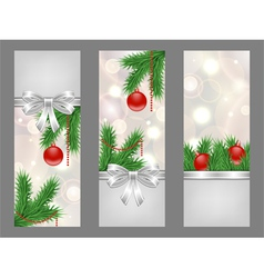 christmas silver flyers vector image vector image
