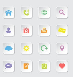 colorful web icon set on white rounded rectangle vector image vector image