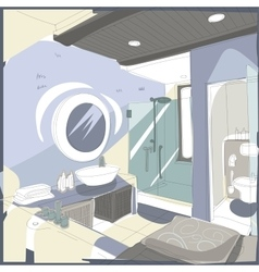 Contemporary interior bathroom doodles vector image