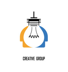 creative light bulb and human heads design vector image vector image
