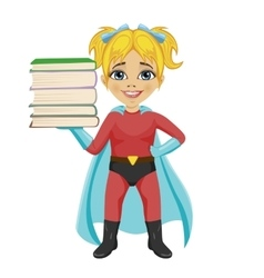 Cute little girl wearing superhero costume vector