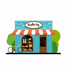 Facade of a bakery shop flat design modern vector