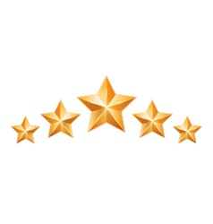 Five gold stars isolated on white background vector image