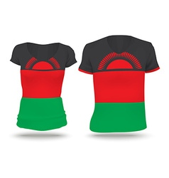 Flag shirt design of malawi vector
