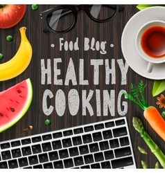 Food blog healthy cooking lifestyle vector image