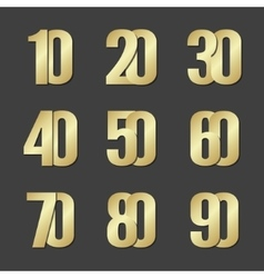 gold font numbers vector image