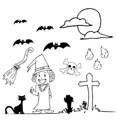 Halloween witch hand draw doodle vector image