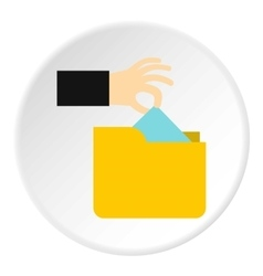 Hand stealing e-mail icon flat style vector