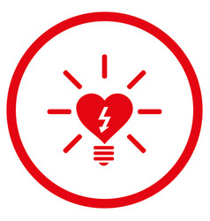 heart electric bulb rounded icon vector image vector image