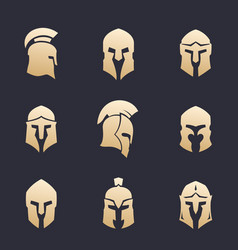 Helmets set spartan greek roman armor vector