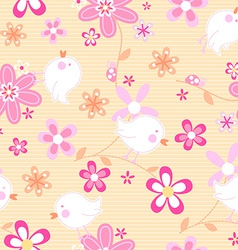 Little birds with flowers seamless pattern vector
