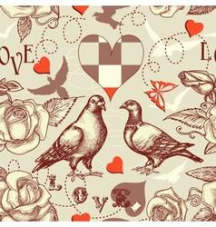 love birds seamless pattern vector image vector image