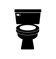 Monochrome silhouette of toilet front view vector