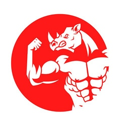 Muscular rhino silhouette on red circle vector