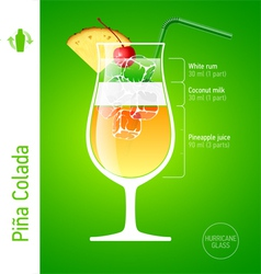 Pina Colada cocktail vector image vector image