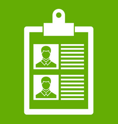 resume of two candidates icon green vector image
