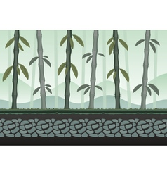 Seamless bamboo landscape for game background vector image