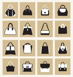 set icons of Fashion Women and men handbags vector image