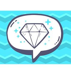 Speech bubble with icon of diamond on blu vector