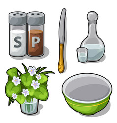 Tableware and decorations for the kitchen vector