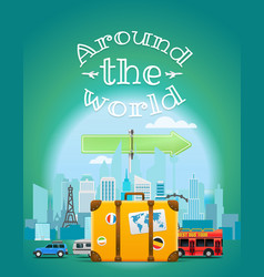 travel with the bag around the world vector image vector image