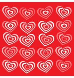 White striped heart on red background Valentines vector image vector image