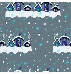Winter seamless houses vector