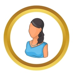Woman avatar in blue dress icon vector image