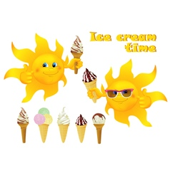 Funny cartoon sun with ice cream vector