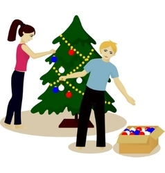 Young family decorate christmas tree vector