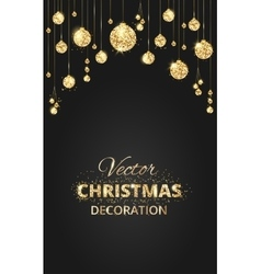 Black and gold Christmas background with glitter vector image