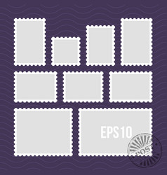 Postage stamps with perforated edge and mail stamp vector