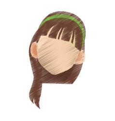 head of woman cartoon icon image vector image