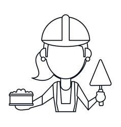Woman construction with brick and spatula thin vector