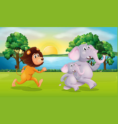 lion and elephants running in park vector image