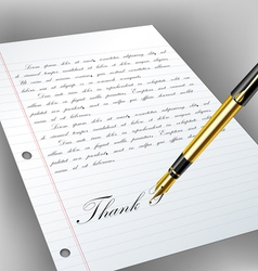 Handwritten letter with fountain pen vector