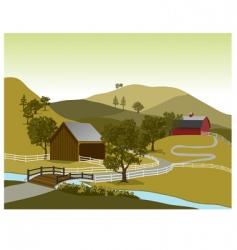 American farm scene vector image
