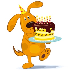 Cartoon dog with cake vector