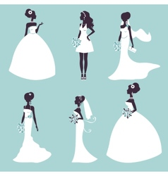Set of elegant brides in silhouette vector