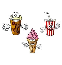 Takeaway cartoon coffee soda ice cream vector