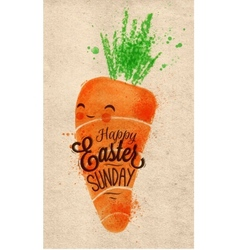 Happy easter carrot poster kraft vector