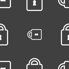 Lock icon sign seamless pattern on a gray vector