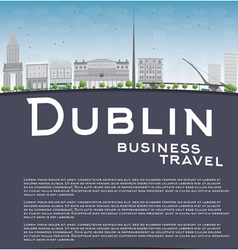 Dublin skyline with grey buildings vector