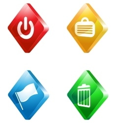 Office glass transparent color icon set vector
